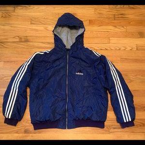 Vintage Adidas Reversible Hooded Jacket Blue Gray